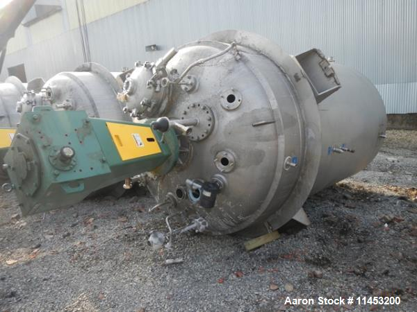 """Used-2000 Gallon Mueller Reactor.  316L Stainless steel construction, 75"""" diameter x 10' 6"""" straight side, dish top and bott..."""