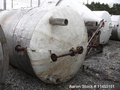 """Used-Perry Products Reactor, 2000 gallon, 304 stainless steel, vertical.  76"""" Diameter x 96"""" straight side, dish top and bot..."""