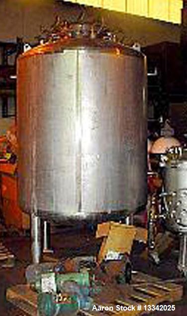 Used- 550 Gallon Stainless Steel Precision Stainless Jacketed Reactor