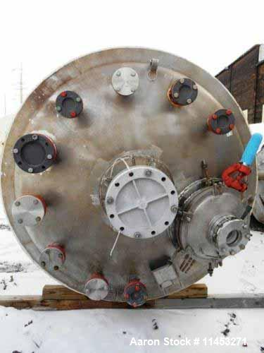 """Used- 1500 Gallon Precision Stainless Reactor. 316 stainless steel construction, approximately 66"""" diameter x 108"""" straight ..."""