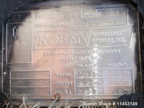 """Used-Roben Reactor, 650 gallon, 304 stainless steel, vertical. 54"""" Diameter x 62"""" straight side, dish top and bottom. Intern..."""