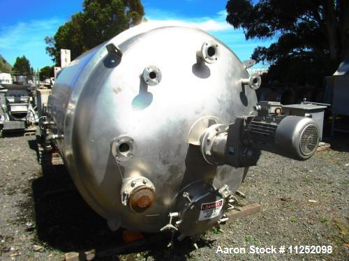 Used- Stainless Fabrication Inc. Stainless Steel Reactor, 1,500 Gallon Capacity.