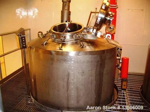 Used-Vesselcraft 1,000 gallon, 316L, WFI/reactor tank. Domed top, dished bottom. Interior shell dimensions 5' diameter x 6'6...