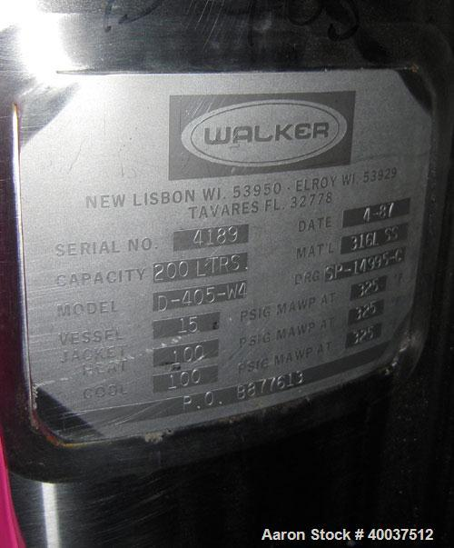 "Used- Walker Reactor, 50 Gallon, Model D-405-4W, 316L Stainless Steel, Vertical. 22"" diameter x 26"" straight side. Dished bo..."