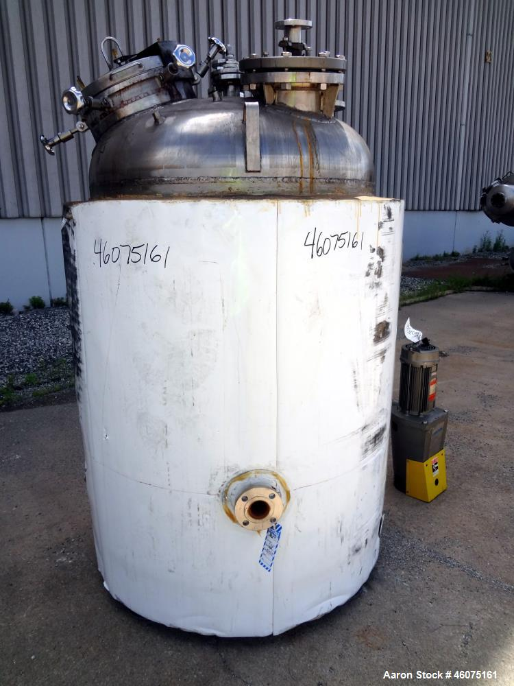 "Used- Watson Metal Masters Reactor, 300 Gallon, 316L Stainless Steel, Vertical. 42"" Diameter x 44"" straight side, dished top..."