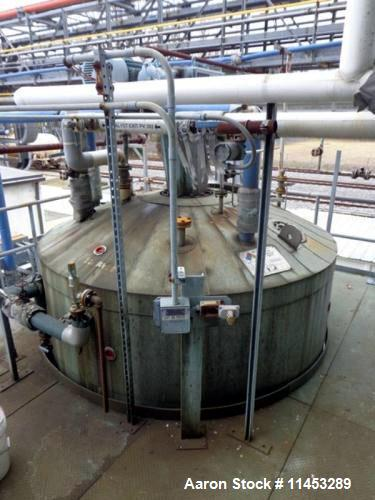 """Used- 4,000 Gallon Whiting Metals Reactor. 304 stainless steel construction, dish top and bottom. 102"""" diameter x 91"""" straig..."""