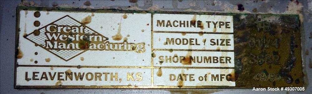 Used- Great Western Manufacturing Tru-Balance Screener, Type TB, Model 611/4 (QA