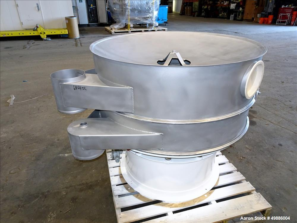 """Used-Dewco 48"""" Diameter Vibratory Screener, Stainless Steel. Single deck, 2 separation. Includes a top cover. Driven by a 2...."""