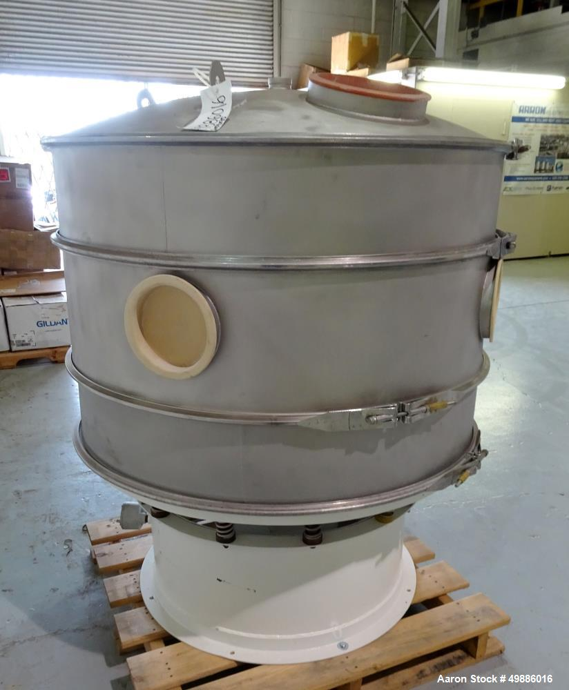 "Used- Dewco 48"" Diameter Vibratory Screener, Stainless Steel. Double deck, 3 separation. Includes a top cover. Driven by a 2..."