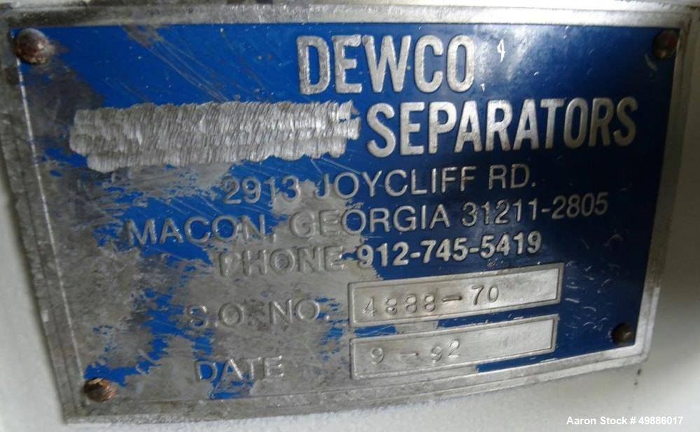 """Used- Dewco 48"""" Diameter Vibratory Screener, Stainless Steel. Double deck, 3 separation. Includes a top cover. Driven by a 2..."""