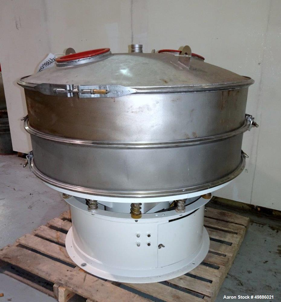"""Used- Dewco 48"""" Diameter Vibratory Screener, Stainless Steel. Single deck, 2 separation. Includes a top cover. Driven by a 2..."""