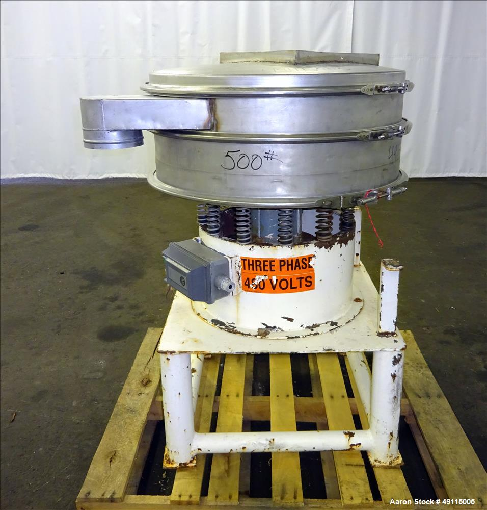"Used- Gump Vibratory Screener, Model CV-301, 30"" Diameter, 304 Stainless Steel."