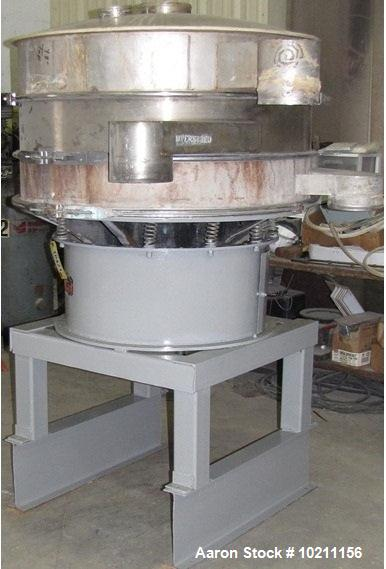 "Used- Kason Screener, Model K48-1-S-S, Stainless Steel.  48"" Diameter, two deck, three separation with top cover.  Driven by..."