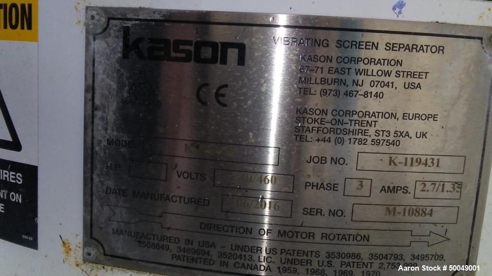 "Used- Kason 40"" Vibra Screen, Model K40-3-SS"