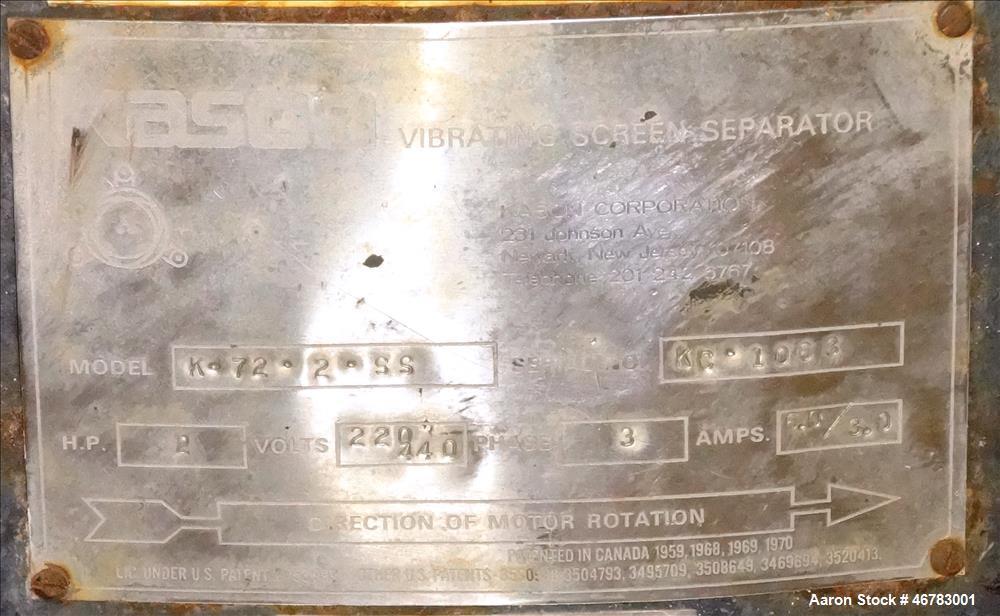 Used- Kason Screen, Model MN K72-2-SS