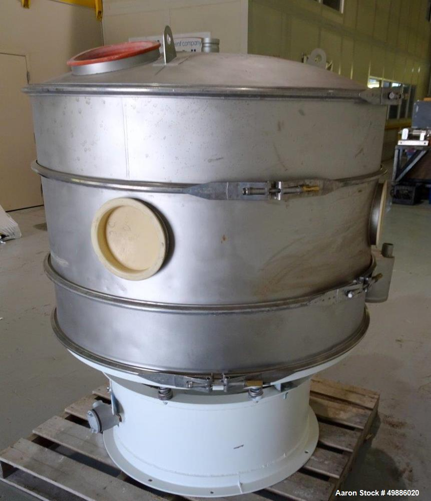 """Used- Macon 48"""" Diameter Vibratory Screener, Stainless Steel. Double deck, 3 separation. Includes a top cover. Driven by a 2..."""