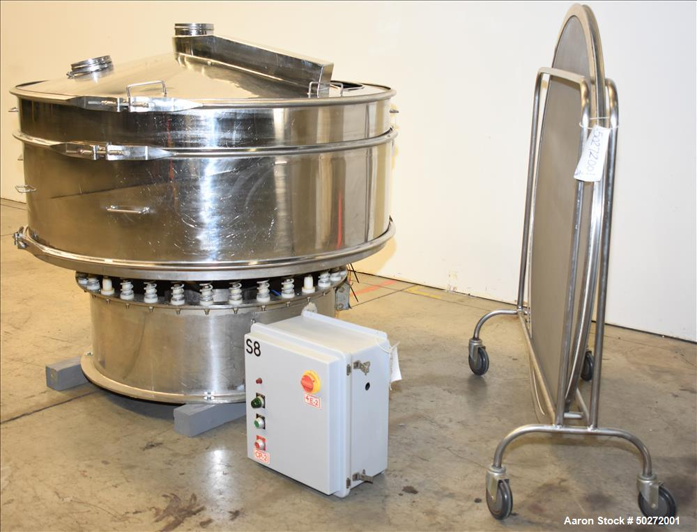 "Used- Microner 48"" Screener. Single Deck. Stainless Steel. Model #GS60-1HC-SS. 480v across the line starter with local disco..."