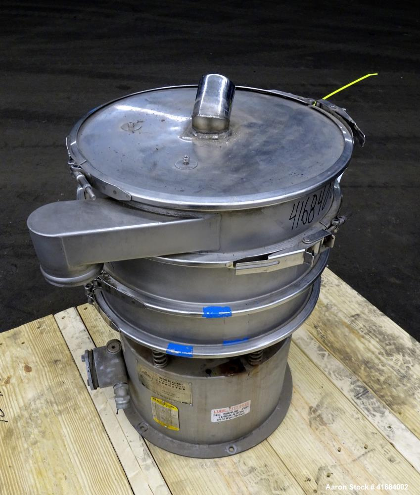 "Used- Sweco Screener, Model LS18S333, 18"" Diameter, 304 Stainless Steel."