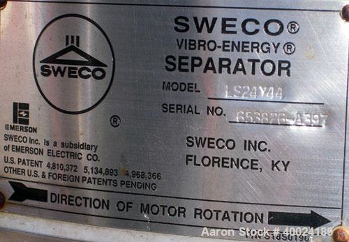 "Used- Sweco Screener, Model LS24Y44, stainless steel. 24"" diameter, single deck, 2 separation. Stainless steel top cover. Dr..."