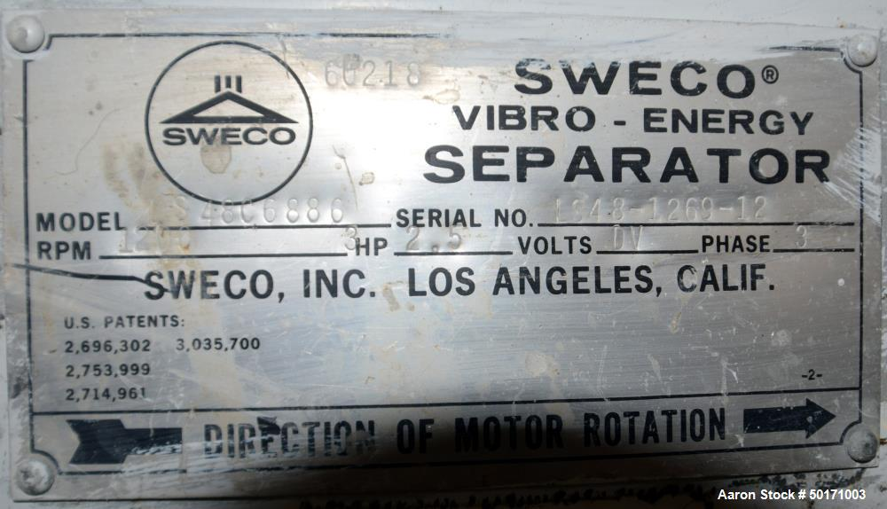 "Used- Sweco Screener, Model LS48C6886. 48"" Diameter triple deck, 4 separation. (3) Stainless steel decks, (1) bottom carbon ..."