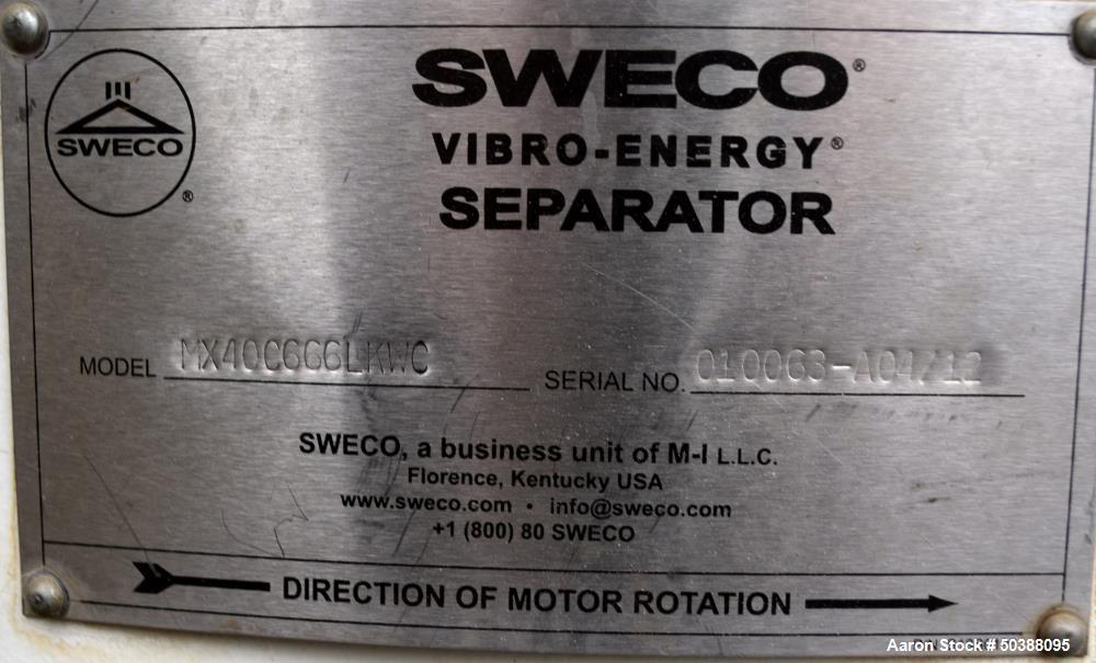 "Used- Sweco Screener, Model MX40C666LKWC. 40"" Diameter double deck, 3 separation. (1) carbon steel deck, (2) stainless steel..."