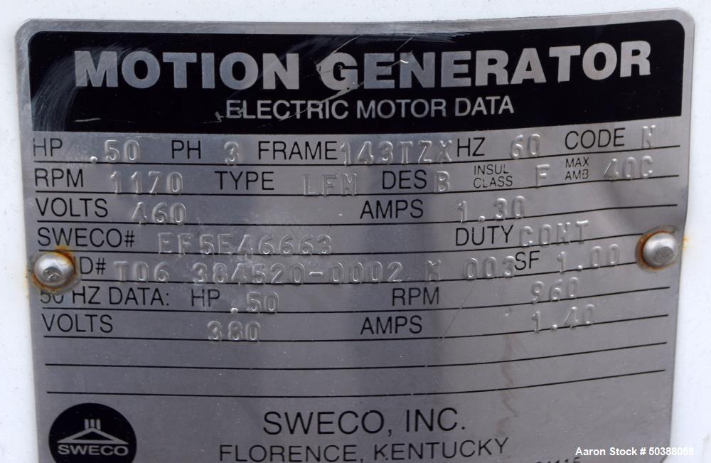Used- Sweco Screener, Model MX40S666EPLKWC