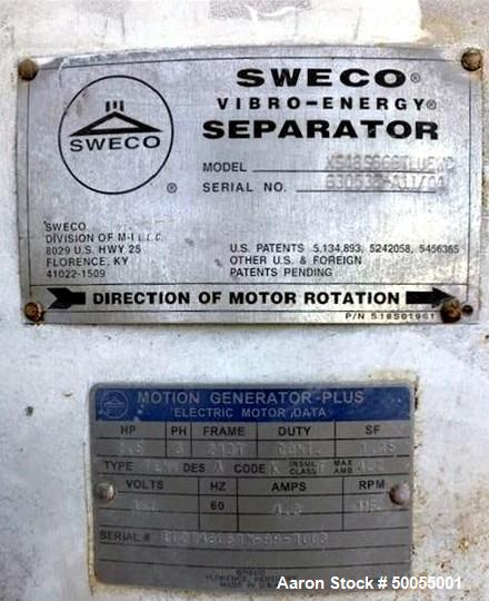 Used- Sweco Separator, Model XS48S666TLUEWC, Stainless Steel.