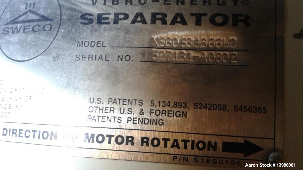 """Used- Sweco Screen. Stainless Steel, 60"""", 3 deck Model XS60S81866WC. Miror finish. Motor missing."""