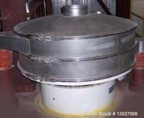 """Used-Sweco 60"""" diameter stainless steel screener, model XS60S88HTTLWC. Single deck for 2 separations, 8"""" high frames, includ..."""