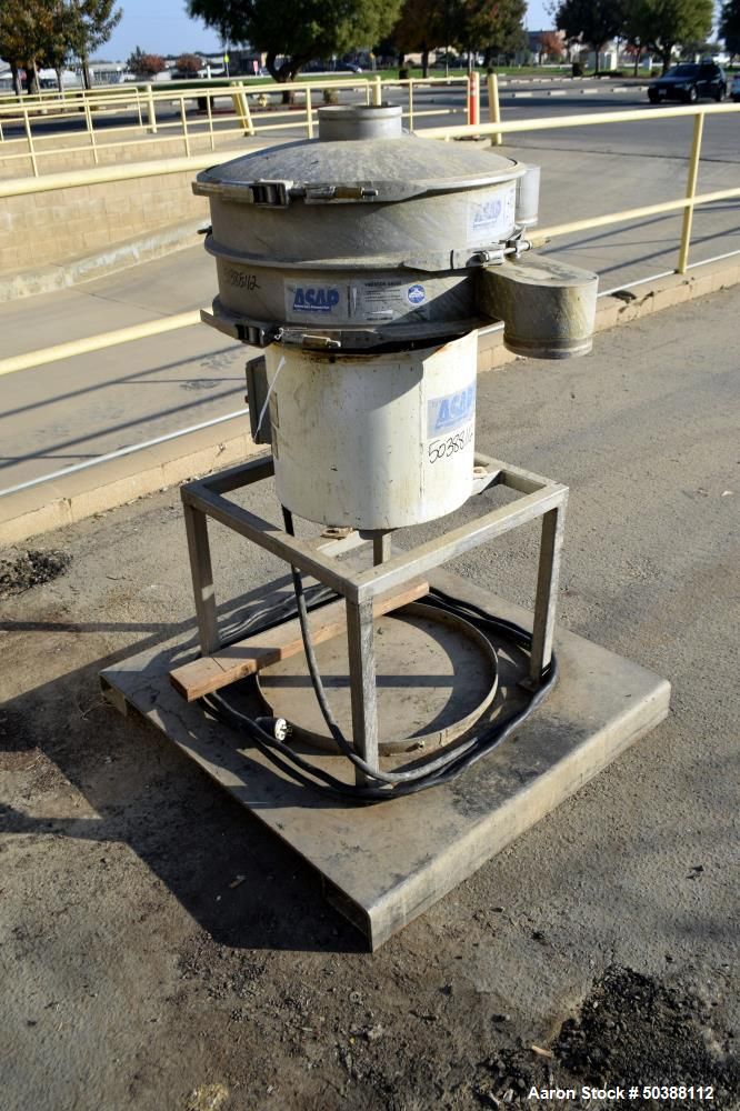 "Used- Sweco Screener, 24"" Diameter, Model ZS24S4444P3WC, 304 Stainless Steel. Single deck, 2 separation, includes top cover...."