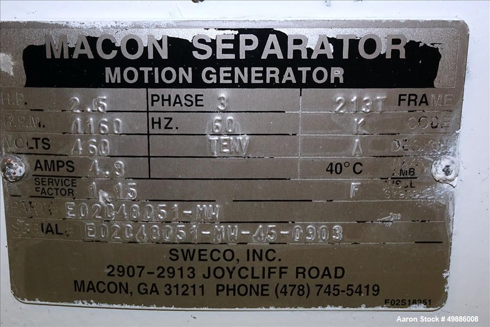 "Used- Macon 48"" Diameter Vibratory Screener"