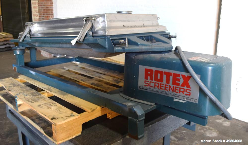 "Used- Rotex Screener, Model 111A AL/SS, Stainless Steel. 21"" Wide x 36"" long single deck, 2 separation. Clamp down aluminum ..."
