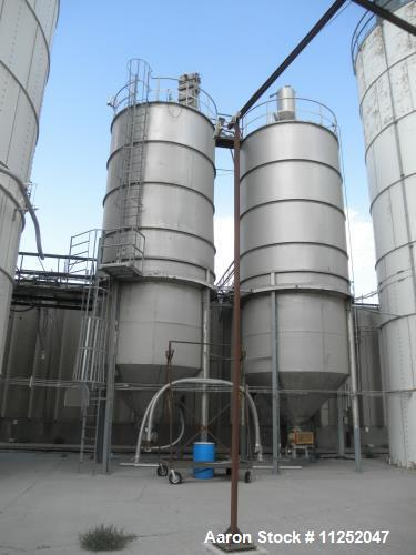 """Used- Silo, 20,000 Gallon Tank. Stainless steel construction. Unit measures 11' 6"""" diameter x 25' straight side, with 6' dee..."""