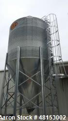 "Used- GSI Corrugated Silo, Model 12-4-60-16 . 1,706 cubic foot capacity. Galvanized steel. 12' diameter x 25' 10"" high. Cone..."