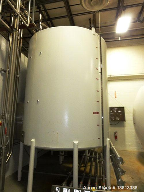 Used-Mueller 5,000 Gallon Top Agitated Tank, R-22 cooling coils, mild steel exterior shell, dish top and dish bottom, bottom...