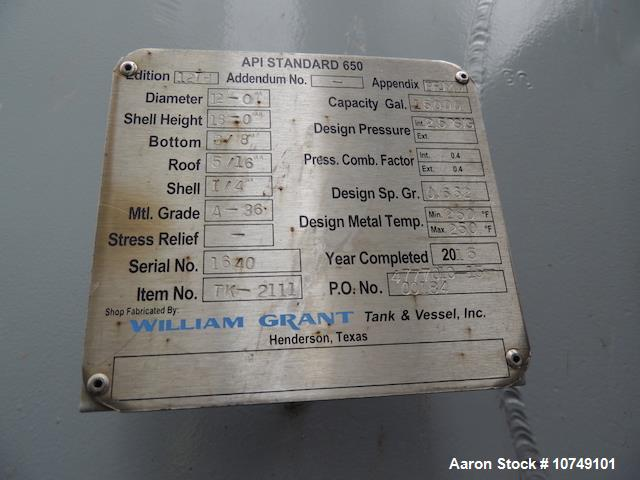 Used- William Grant 15,000 Gallon Tank.