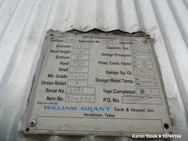 Used- William Grant 19,000 Gallon Tank