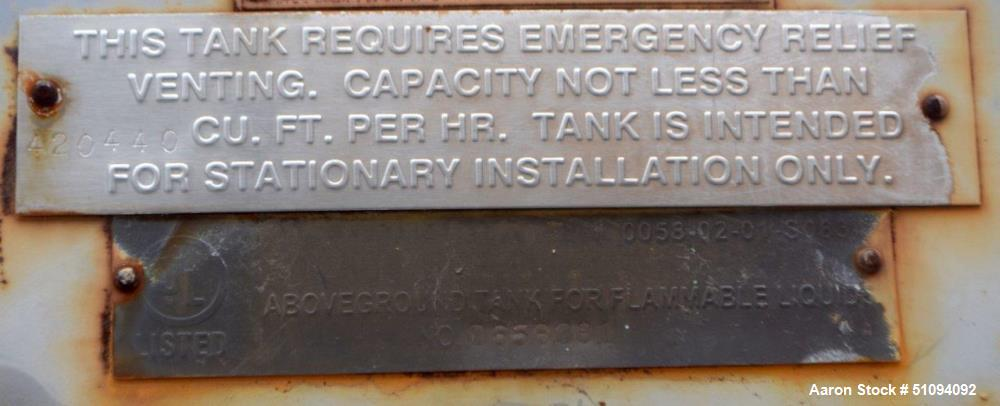 Used- Squibb Tank Company Above-ground Flammable Liquid Tank