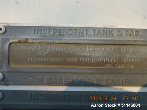 Used- 1100 Gallon Vertical Carbon Steel Tank