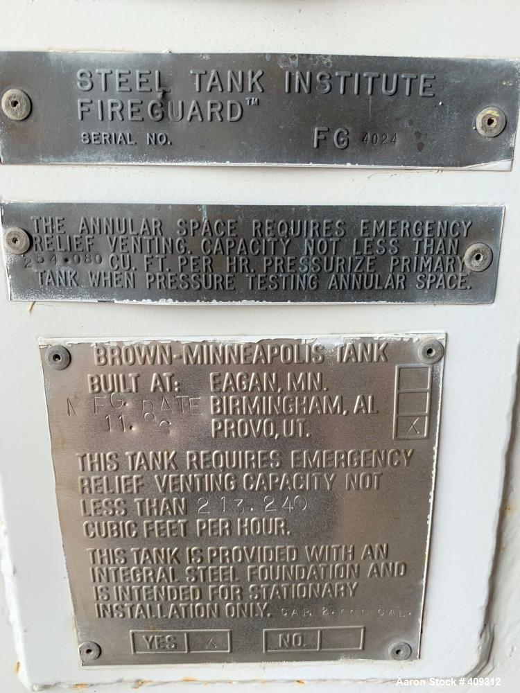 Used- STI Fireguard / Brown-Minneapolis Diesel Fuel Tank, 2,000 Gallon, Horizontal. Double Wall. Includes pump.
