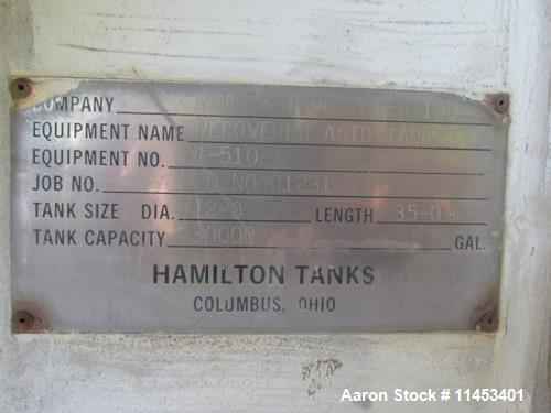 Used- Hamilton Tank, 30000 Gallon.