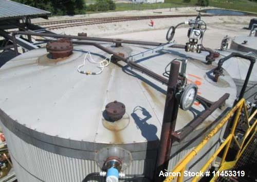 """Used-14,500 Gallon O'Conner Storage Tank. Carbon steel construction, 11'6"""" diameter x 18' straight side, dish top and bottom..."""