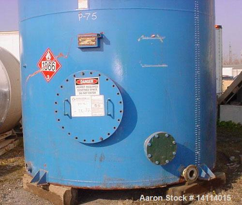 "Used-9,600 US gallon carbon steel tank built by O'Connor Tanks Ltd. Vertical, 8'6"" diameter x 23' high (T-T). 12"" dome top. ..."
