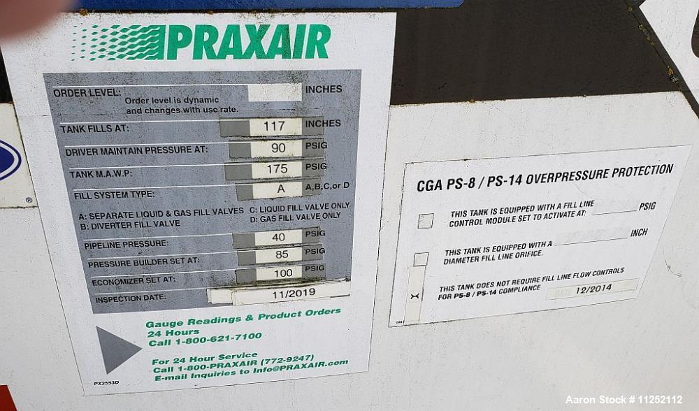 Used- Chart Inc. Liquid Oxygen Storage Tank, 15,000 Gallons