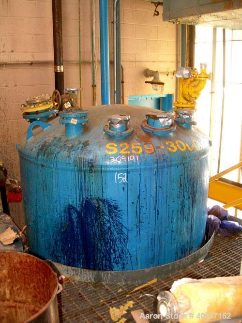 "Used-Used: Glascote glass lined tank, 3000 gallon, vertical. Approximately 72"" diameter x 162"" straight side. Dihed top and ..."