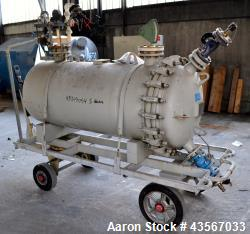 Used- Von Roll Glass Lined Pressure Tank, 630 Liter (166.48 Gallon), Horizontal. Approximate 27 diameter x 62 straight side....