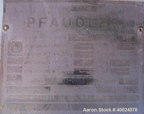 Used- Pfaudler Glass Lined Reciever, 200 gallon, 9125 white glass. Internal rated 100 psi and full vacuum at 450 deg F. Clam...
