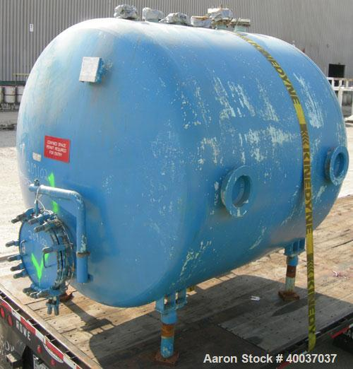 "Used: Pfaudler glass lined tank, 2000 gallon, 9114 blue glass, horizontal. Approximately 84"" diameter x 6' straight side, di..."