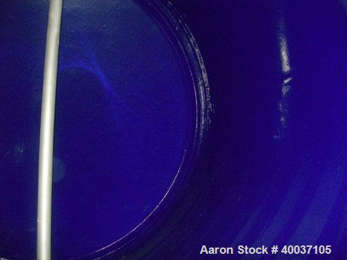 """Used- Pfaudler Glass Lined Tank, 2000 gallon, 9114 blue glass, horizontal. Approximately 84"""" diameter x 6' straight side, di..."""