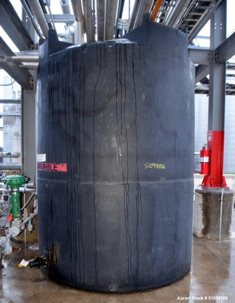 """Used- SII Snyder Polypropylene Tank, 3000 Gallon, Vertical. Approximate 90"""" diameter x 108"""" straight side, dished top, flat ..."""